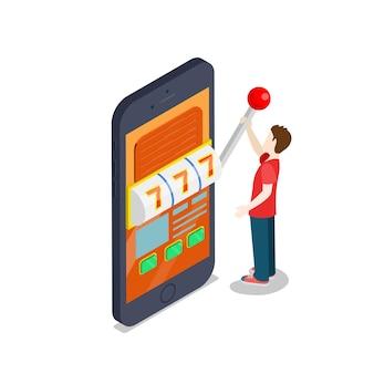 온라인 카지노 플랫 3d 아이소메트릭 행운 성공 도박 벡터 개념