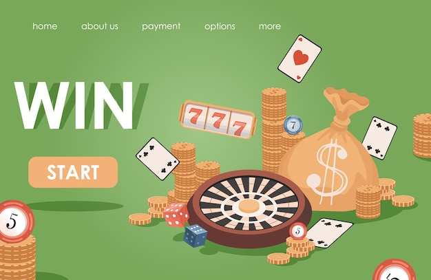 Online casino flat banner template. golden coins, playing cards, slot machines, poker chips, roulette.