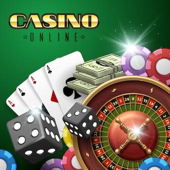 ルーレット、サイコロ、ポーカーカードを使ったオンラインカジノギャンブルの背景。