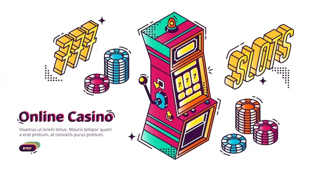 Online casino gambling house isometric landing,