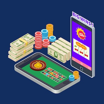 Online casino or gambling with banknotes and chips isometric  concept