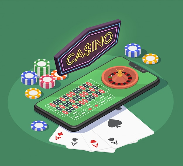 Online casino isometric composition with smartphone cards and chips for gambling games on green background 3d
