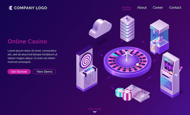 Online casino isometric landing page, web banner