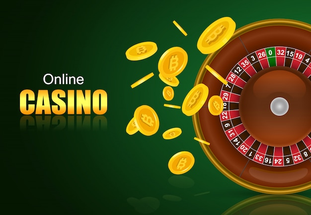 Online casino lettering, roulette and flying golden coins. casino business advertising