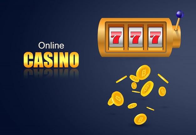 Online casino lettering, slot machine and flying golden coins. casino business advertising