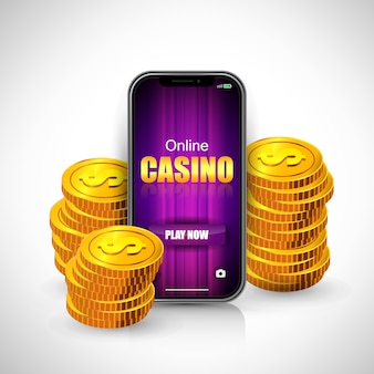 Online casino lettering on smartphone screen and stacks of coins.
