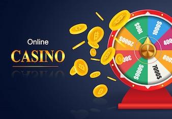Online casino lettering, wheel of fortune, flying golden coins. Casino business advertising
