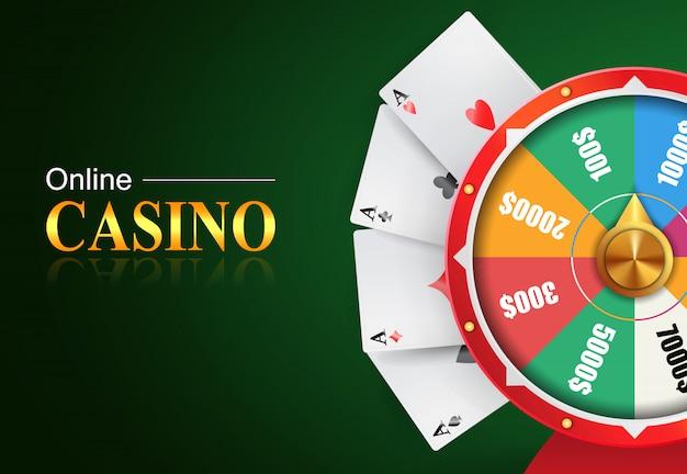 Онлайн-надпись на казино, колесо фортуны с денежными призами и четырьмя тузами.