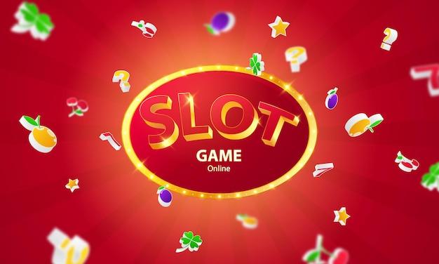 Online casino. mega jackpot frame, slot machine, casino chips flying realistic tokens for gambling, cash for roulette or poker,