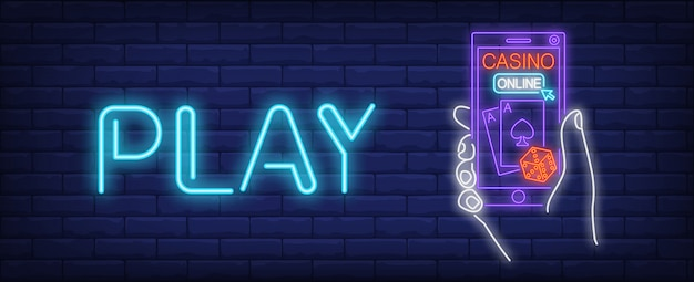 Online casino neon sign. gambling application and play inscription