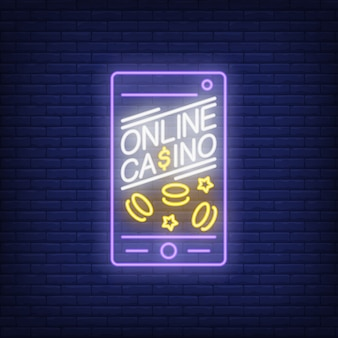 Online casino neon sign. Phone screen shape with ships and stars on brick wall background