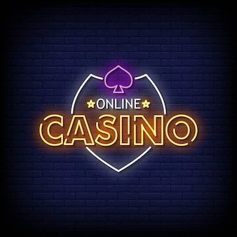 Online casino neon signs style text vector