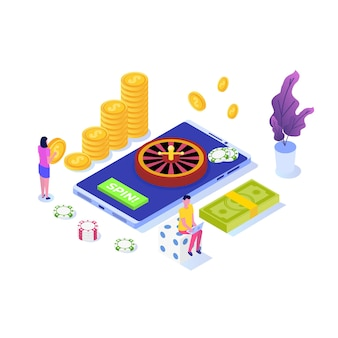 Online casino, online gambling, gaming apps  isometric  illustration