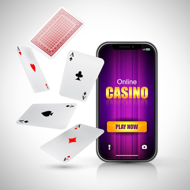 Online casino play now lettering on smart phone screen and flying aces