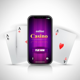 Online casino play now lettering on smartphone screen and three aces