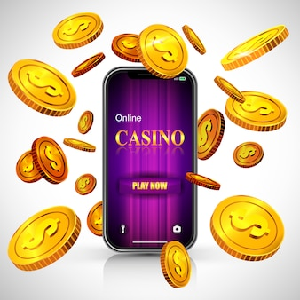 Online casino play now lettering on smartphone screen and flying golden coins.