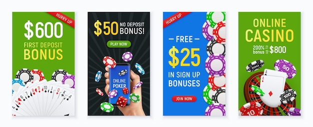 Online casino poker club 4 realistic colorful banners with hand holding cards bonus floating chips