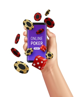 Online casino poker composition with human hand holding smartphone chips and dice