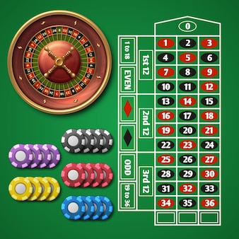 Online casino roulette and gambling table with chips vector set.