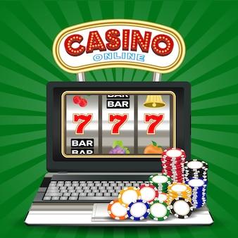 Online casino slot machine game on laptop computer