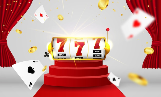 Online casino. smartphone or mobile phone, slot machine, casino chips flying realistic tokens for gambling, cash for roulette or poker,