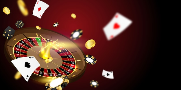 Online casino. smartphone or mobile phone, slot machine, casino chips flying realistic tokens for gambling, cash for roulette or poker