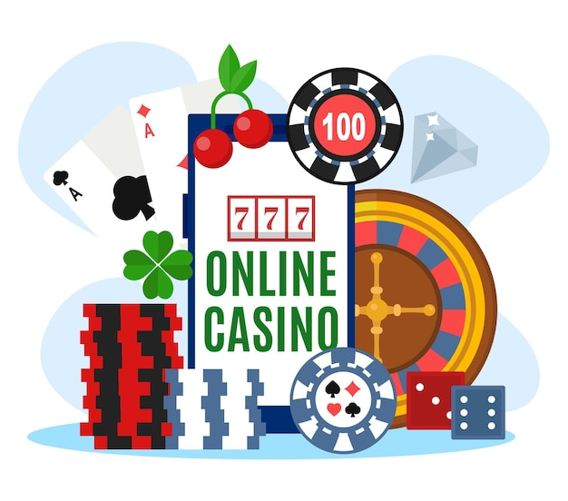 Online casino, vector illustration. huge smartphone with luck game concept, internet gambling with slot, poker chips and roulette. dice, cards, cherry symbol for entertainment design.