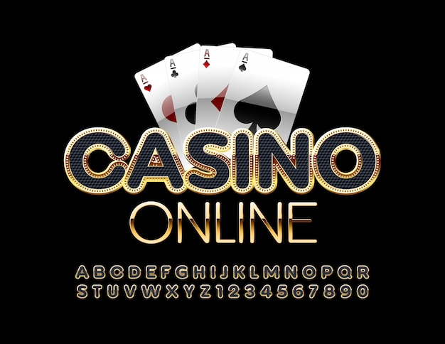 Online casino with playing cards. black and gold alphabet letters and numbers