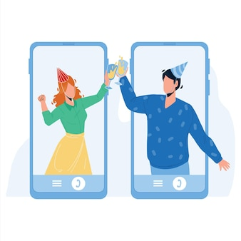 Online celebrating birthday friends couple vector. young man and woman wearing festival hat and holding glasses with champagne online celebrating new year. characters flat cartoon illustration