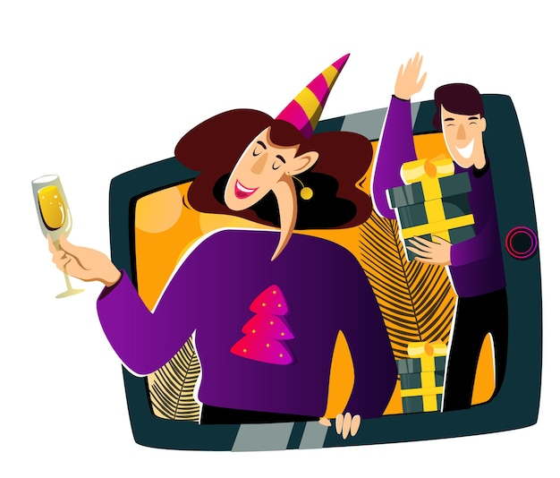 새해 온라인 축하 영상 통화로 시청자에게 축하 인사를 전하는 친구들