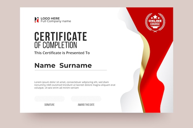 Online certificate of completion template. red and white color, clear design and international style. easy edit and replace name. vector eps10 ready to print. Premium Vector