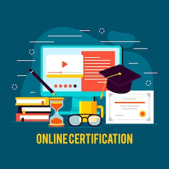 Online certification concept with computer