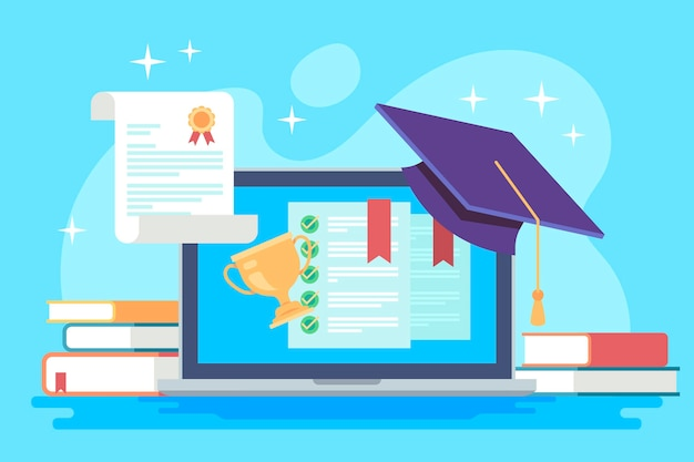 Online certification concept with degree