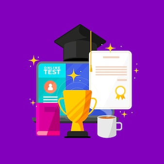 Online certification concept with diploma
