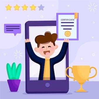 Концепция иллюстрации онлайн сертификации