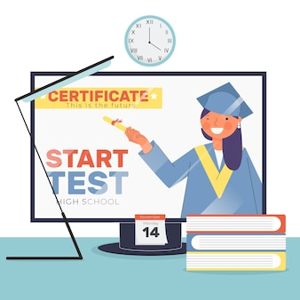 Concetto di illustrazione certificazione online
