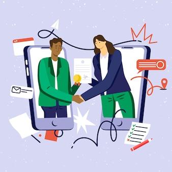 Online certification illustration concept