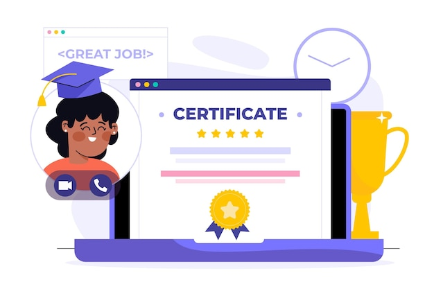 Online certification illustration with laptop
