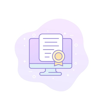 Online certification vector icon with outline
