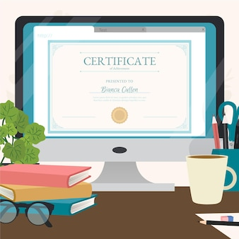 Online certification with books and glasses