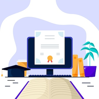 Online certification with computer and book