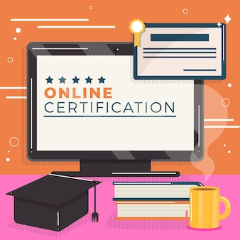 Online certification with computer and books