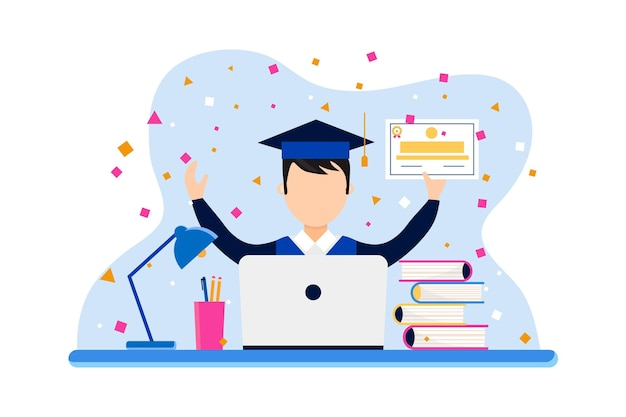 卒業生とラップトップによるオンライン認定