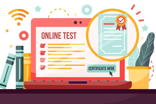 Online certification with laptop and desk
