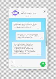 투명한 배경 소셜에 격리된 웹사이트 및 모바일 앱용 온라인 채팅 봇 창