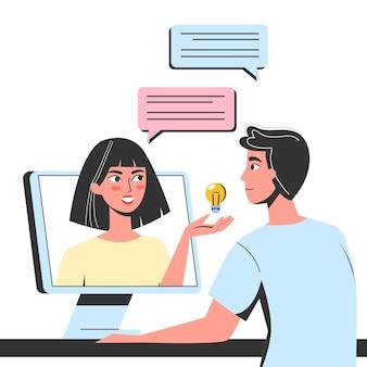 オンラインチャットのコンセプトです。女と男がメッセージを送る