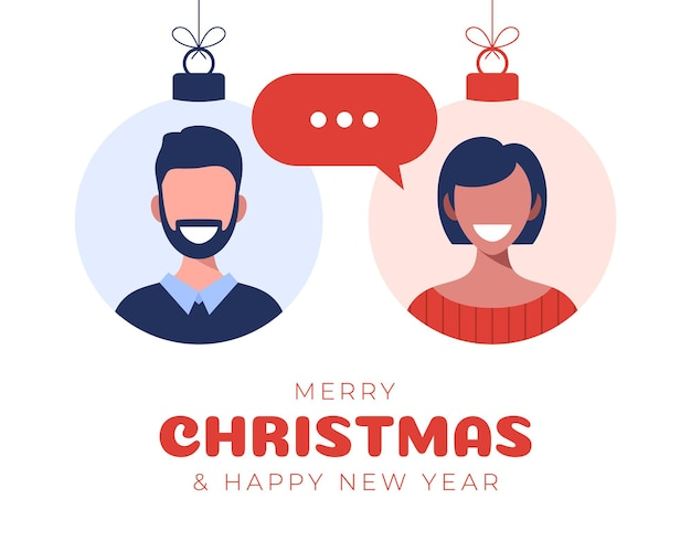 Online chat between a guy and a girl. man and woman icons in flat style on bauble ball. chat messaging communication. flat design, vector illustration