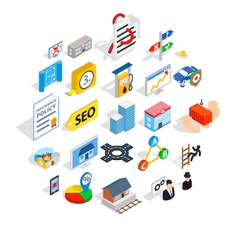 Online chat icons set, isometric style