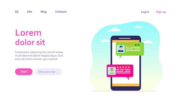 オンラインチャットインターフェース。ユーザーダイアログバブルのあるスマートフォン画面。メッセンジャー、ソーシャルメディア、コミュニケーション、ウェブサイトのデザインやランディングウェブページのコメントのコンセプト