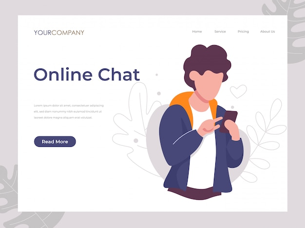 Online chat man texting